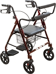 Transport Rollator, Burgundy by Roscoe