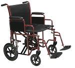 Bariatric Heavy Duty Transport Wheelchair with Swing Away Footrest, 22