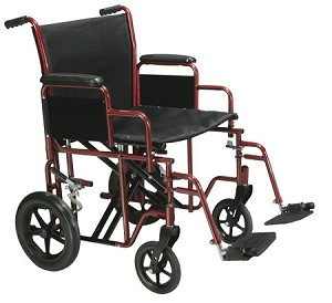 Bariatric Heavy Duty Transport Wheelchair with Swing Away Footrest, 22' Seat, Red