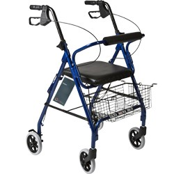 "Rollator 6"" wheels • Straight padded backrest • Blue • Padded seat • 300 lb weight capacity"