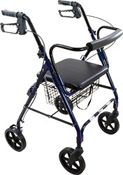 "Deluxe Rollator Blue 8"" wheel curved by Roscoe"
