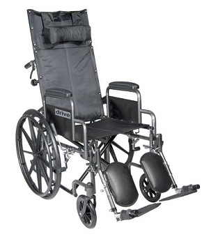 "Silver Sport Reclining Wheelchair with Elevating Leg Rests, Detachable Desk Arms, 16"" Seat"